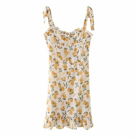 new lace halter floral retro V-neck suspender dress NHAM312896's discount tags