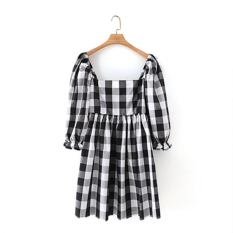 simple black white check puff sleeve dress NHAM312897's discount tags