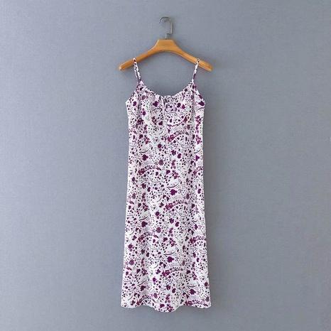 einfaches verstellbares Hosenträgerkleid mit lila Blumendigitaldruck NHAM312902's discount tags