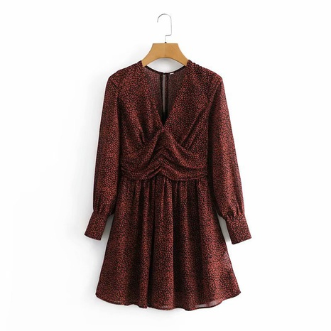 simple speckled band lining V-neck waist long sleeve dress  NHAM312909's discount tags