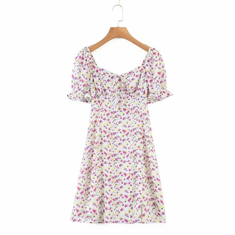 new retro pastoral style small floral lace-up square neck dress NHAM312918's discount tags