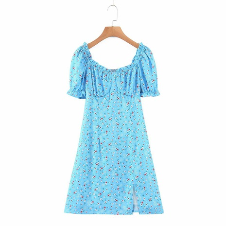 new blue flower elastic square neck short sleeve dress NHAM312919's discount tags
