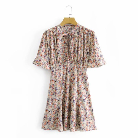 fashion French floral print pleated lace-up waist dress NHAM312921's discount tags