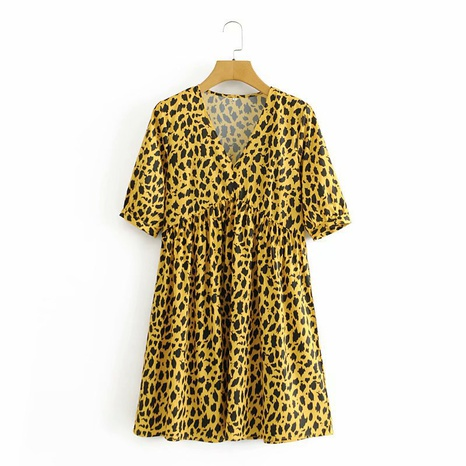 fashion yellow leopard print V-neck short-sleeved dress NHAM312923's discount tags