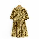 fashion yellow leopard print Vneck shortsleeved dress NHAM312923