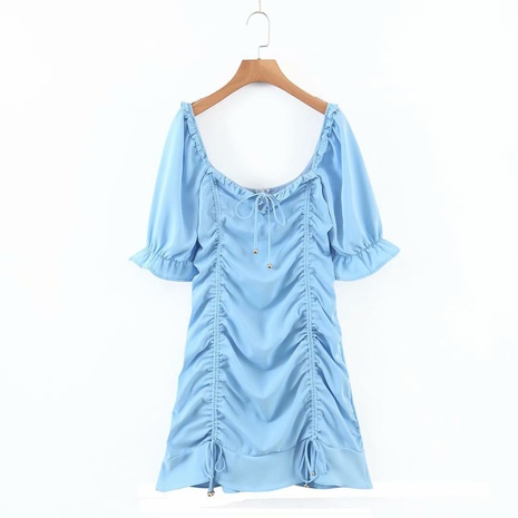 retro drawstring puff sleeve style dress NHAM312924's discount tags