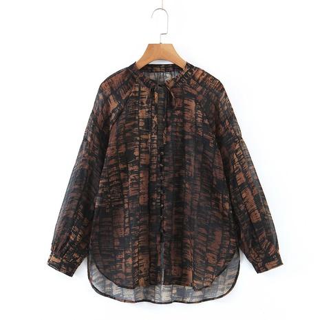 neues bedrucktes Langarmhemd mit V-Ausschnitt NHAM312930's discount tags
