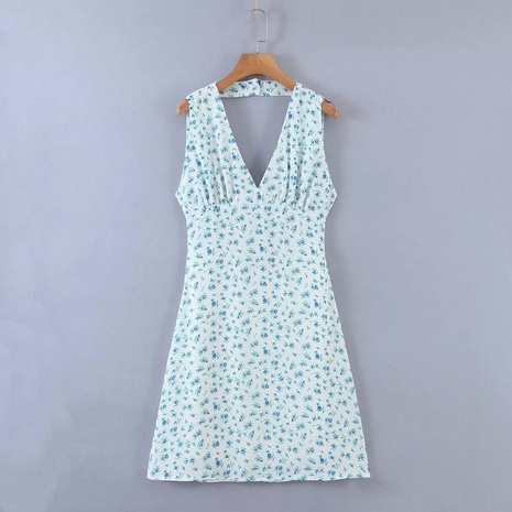 new fashion floral V-neck halter waist dress NHAM312932's discount tags