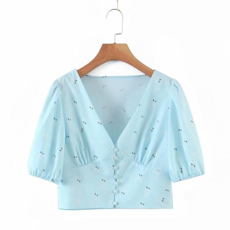 kleines kurzes Hemd mit V-Ausschnitt und Puffärmeln NHAM312934's discount tags