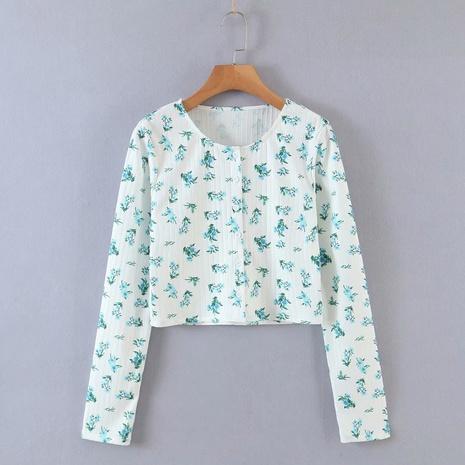 kurzes, schlankes Langarmhemd mit Blumenmuster NHAM312933's discount tags
