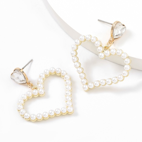 new alloy diamond inlaid pearl love earrings NHJE312969's discount tags