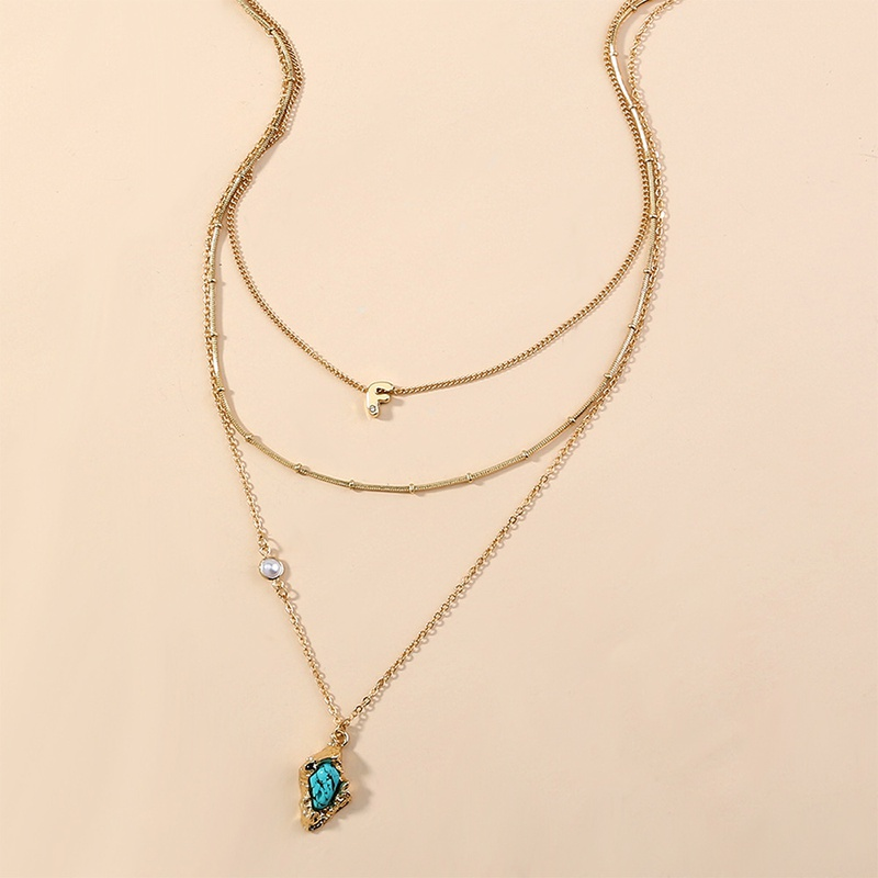 fashion bohemian turquoise pendant multilayer necklace NHAN312987