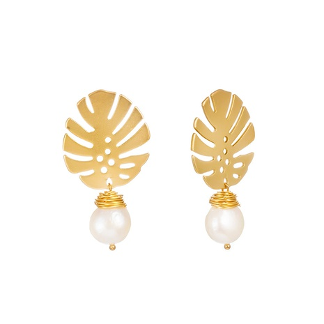simple golden natural freshwater pearl earrings NHAN312994's discount tags