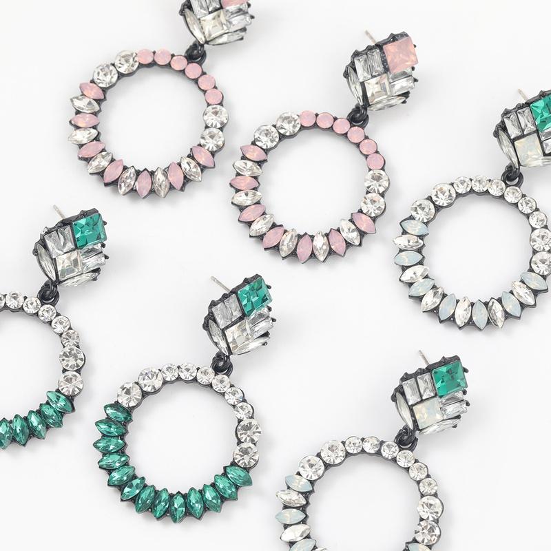 Fashion round alloy acrylic geometric earrings NHJE313017