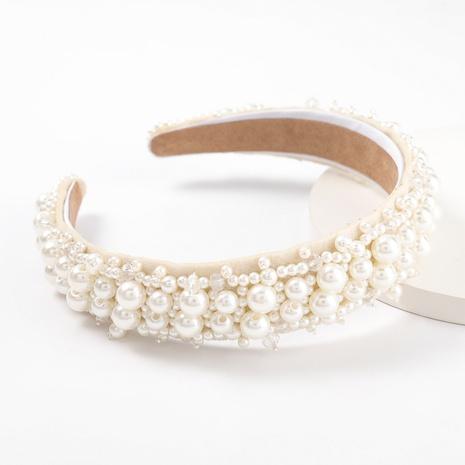 neue Mode einfache Flanell eingelegte Perle Acryl Stirnband NHJE313019's discount tags