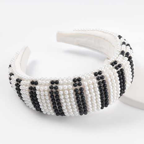 Diadema de esponja de perlas de imitación negra coreana de moda NHJE313020's discount tags
