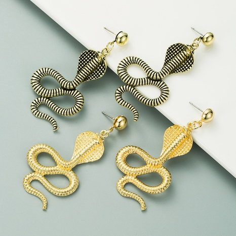 new exaggerated creative cobra metal alloy earrings NHLN313032's discount tags
