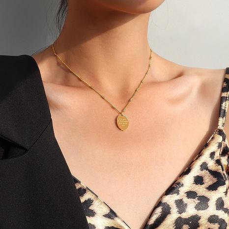 Collar con colgante ovalado irregular inglés NHOK313045's discount tags
