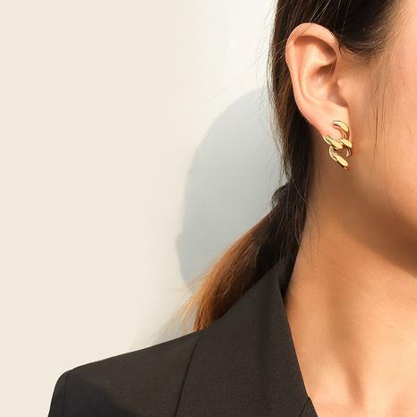 titanium steel chain stitching earrings  NHOK313053's discount tags