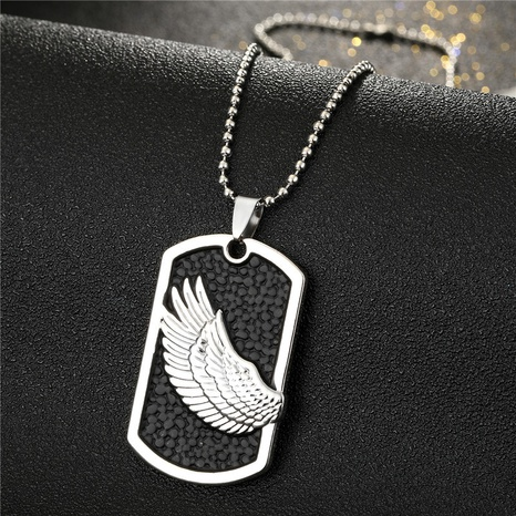 Fashion Simple Retro Rectangular Frosted Wing Necklace NHGO313054's discount tags