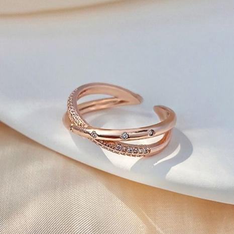 Korea einfacher Diamantkreuz offener Ring NHLJ313063's discount tags