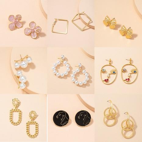 retro fashion pearl geometric chain earrings NHAI313065's discount tags