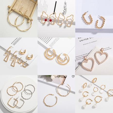 retro geometric fashion pearl earrings  NHAI313070's discount tags
