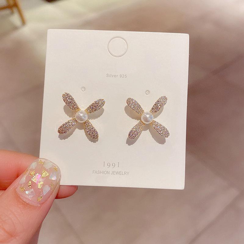 Korean Simple Zircon Micro Inlaid Pearl Flower Earrings  NHCG313088