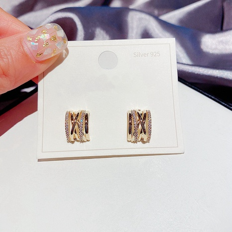 simple inlaid zircon cross geometric earrings NHCG313089's discount tags