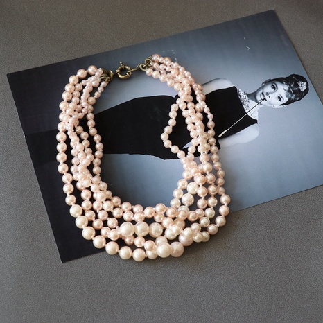 Collier de perles en résine dégradé rose NHOM313101's discount tags