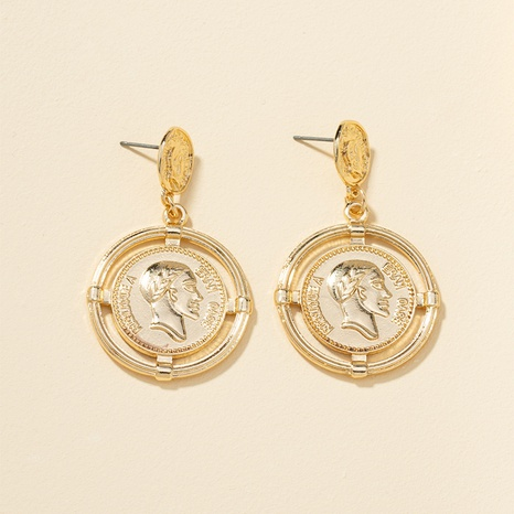 geometric human head metal earrings NHQJ313205's discount tags