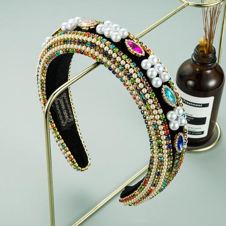 verdicktes Schwamm-Diamant-Stirnband im Retro-Barockstil NHLN313221's discount tags