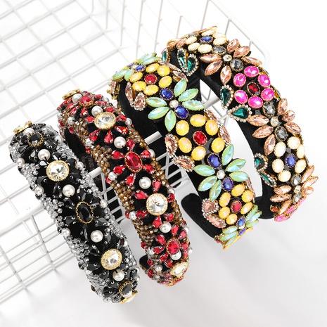 Diamantbesetztes, breitseitiges Schwammstirnband aus Samtlegierung NHJE313223's discount tags