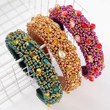 Samt Diamant Perle breitkrempigen Schwamm Stirnband NHJE313225's discount tags
