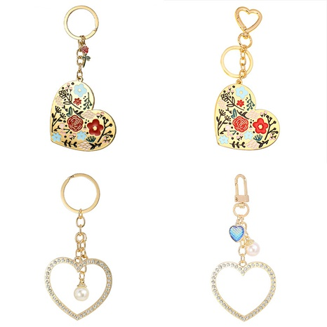 Valentine's Day gift heart-shaped alloy keychain NHAP313239's discount tags