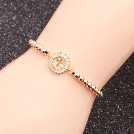 new mixed color bead chain micro-inlaid zircon cross devil bracelet NHYL313246's discount tags