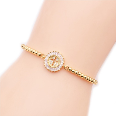 simple copper micro-inlaid white zirconium cross bracelet NHYL313249's discount tags
