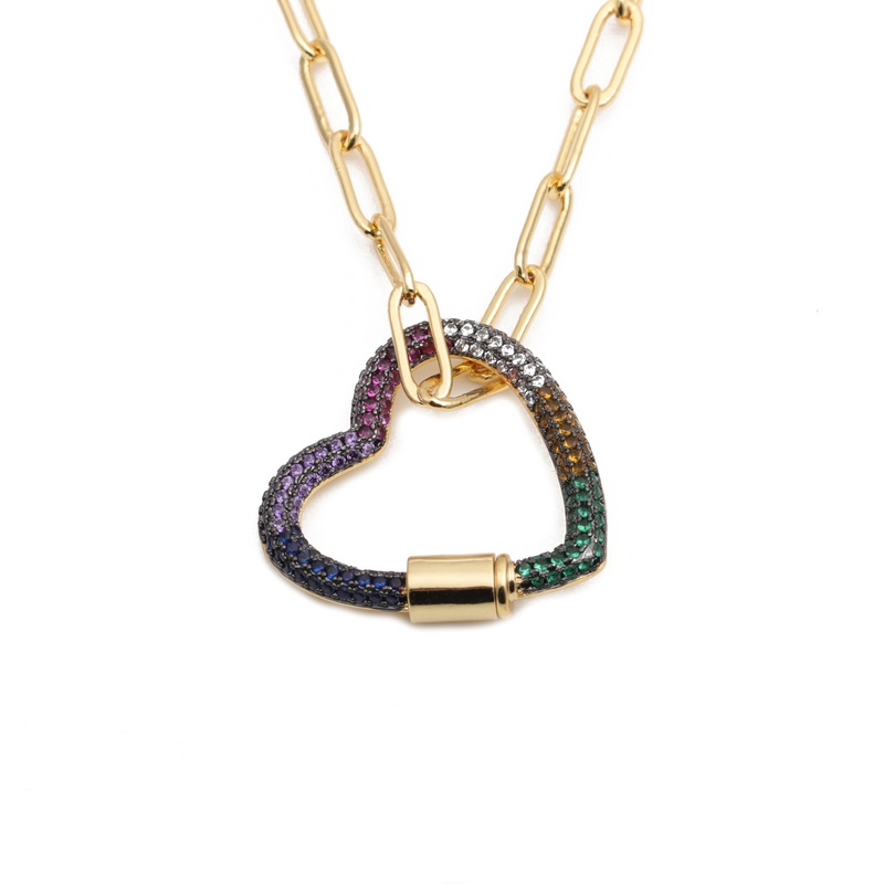 hiphop microzirconium heart necklace  NHYL313258