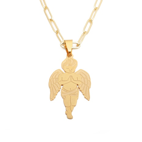 Titanium Steel Angel Wing Boy Pendant Necklace NHYL313263's discount tags