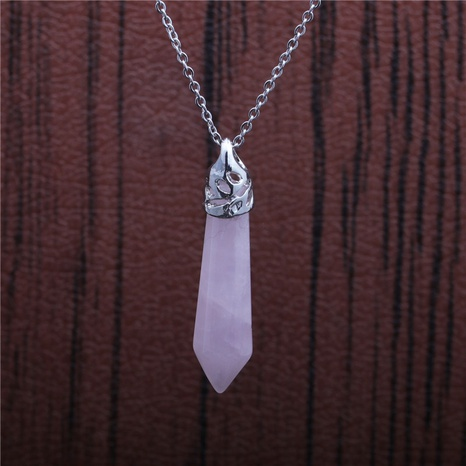 collier pendentif cristal rose chaîne en acier inoxydable NHYL313273's discount tags