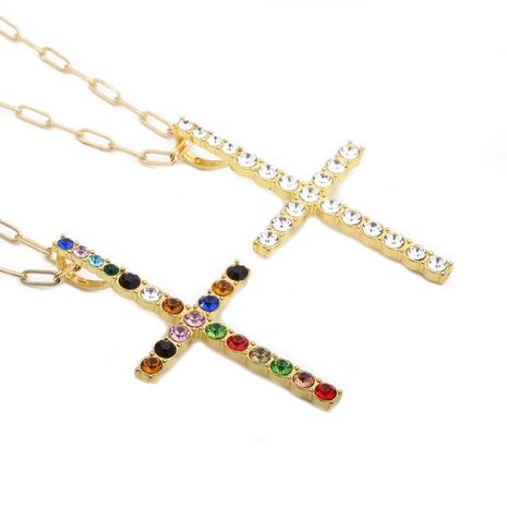 Collar de hip-hop con cruz de diamantes de imitación NHYL313291's discount tags