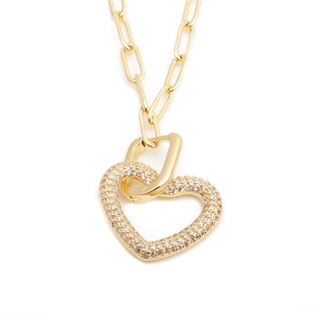 nouveau collier cœur en zircon micro-incrusté NHYL313292's discount tags