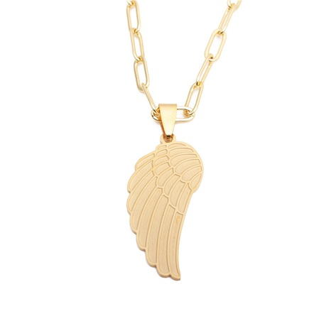 Hip-hop titanium steel angel wings necklace NHYL313293's discount tags