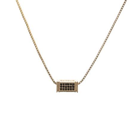 Collier à pendentif cuboïde en zircon micro-incrusté NHYL313298's discount tags