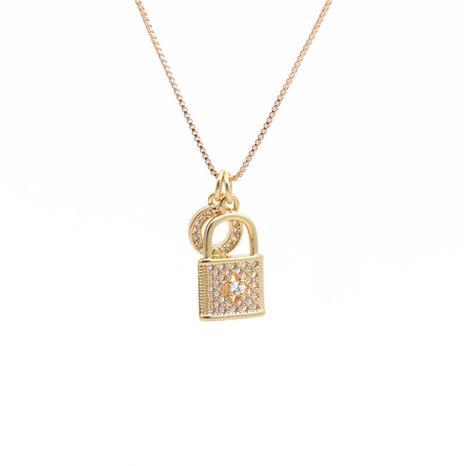 mikro-eingelegte Halskette mit Zirkon-Schlüsselschloss NHYL313315's discount tags