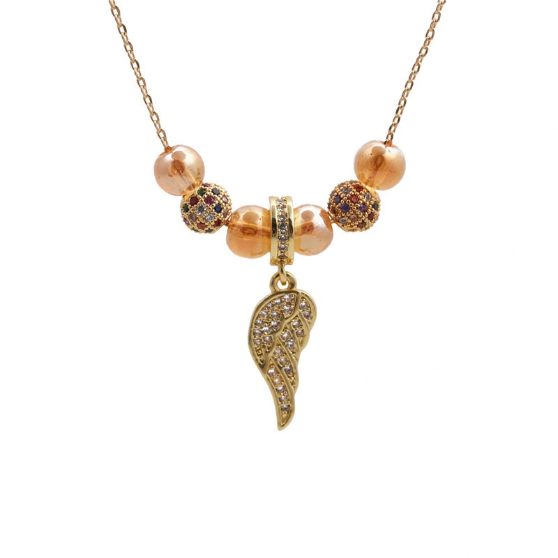 Microinlaid zircon Angel Wings Lock Necklace NHYL313317
