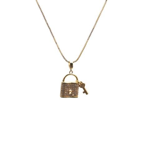 mikro-eingelegte Zirkon Key Lock Herz Anhänger Halskette NHYL313319's discount tags