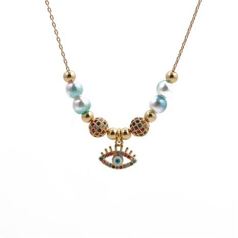 Collier pendentif oeil de diable boule de zirconium et perles de cuivre NHYL313329's discount tags