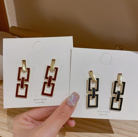 Hollow simple square earrings  NHOT303650's discount tags