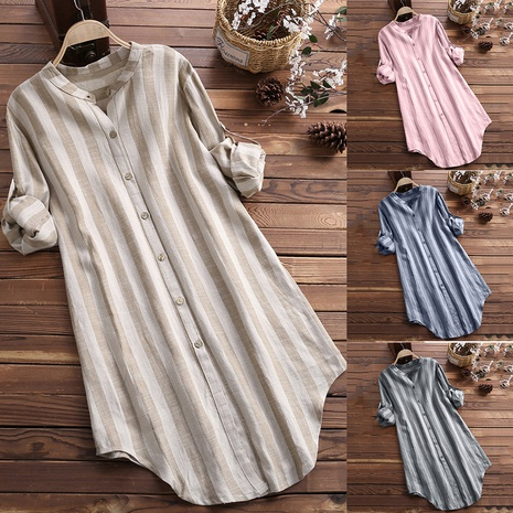Round neck striped long sleeve shirt NHUO304184's discount tags
